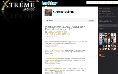 Follow Xtreme Lashes On Twitter