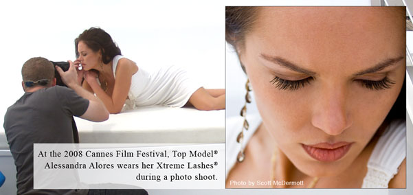 At the 2008 Cannes Film Festival, Top Model Alessandra Alores wears her Xtreme Lashes druing a photo shoot.