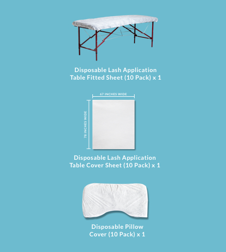 Lash Application Table Disposable Linens Kit