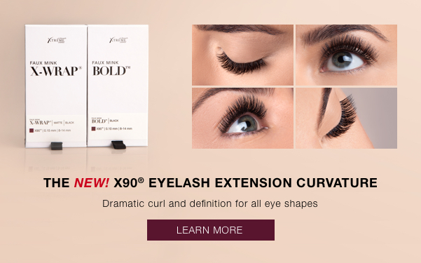 X90 Eyelash Extensions Curvature. Dramatic curl and definition for all eye shapes.